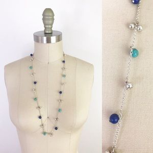 Long Boho Single Strand Blue Silver Necklace 1073